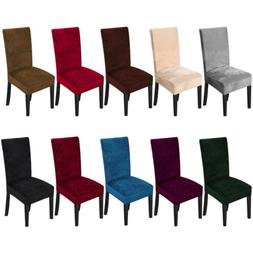 1/4/6Pcs Velvet Spandex Fabric Stretch Dining Room Chair Sea