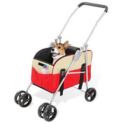 Collections Etc 3-in-1 Pet Stroller And Carrier, Red