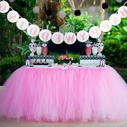 AerWo 1 Tutu Table Skirt + 1 HAPPY WEDDING Banner, Pink Quee