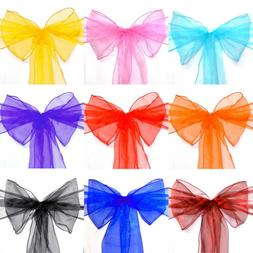 10/20/50/100/150pcs Organza Chair Sash Cover Bow for Wedding