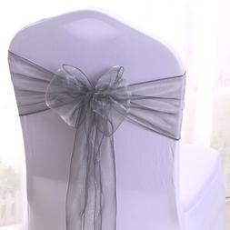 10 50 100 Silver Organza Chair Cover Sashes Bow for Wedding