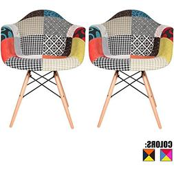 2xhome Set of Two  - Fabric Armchair Natural Wood Legs Eiffe