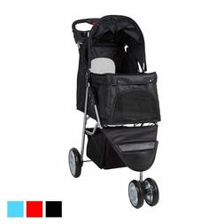 3 Wheels Pet Stroller Foldable Pet Cart Carrier for Cats and