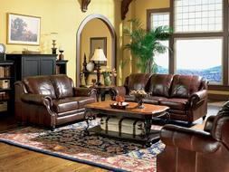 3pc Princeton Tri-Tone Burgundy Leather Sofa Loveseat & Recl