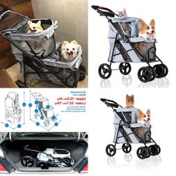 4 Wheel Double Pet Stroller For Dogs & Cats Great Twin Or Mu