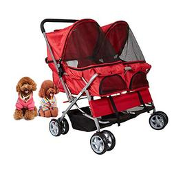 Dporticus 4 Wheel Pet Stroller Foldable Two-Seater Carrier S