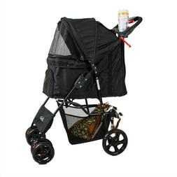 4 Wheels Pet Stroller Folding Pet Carrier for Cats and Dogs