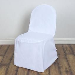 BalsaCircle 50 pcs White Polyester Banquet Chair Covers Slip