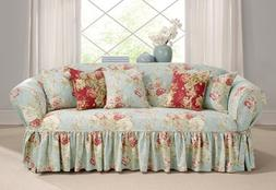 Ballad Bouquet Waverly One Piece Sofa Slipcover Robins Egg