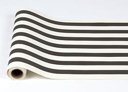 """Black and White Striped Paper Table Runner - 25' Long x 20"""""""