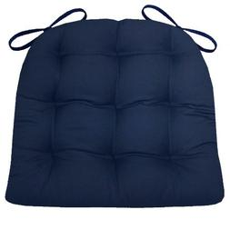 Barnett Products Dining Chair Pad with Ties - Navy Blue Cott