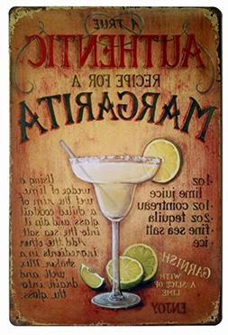 ERLOOD A True Authentic Recipe for a Margarita Tin Sign Wall