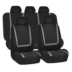FH Group FH-FB032115 Unique Flat Cloth Seat Covers, Gray/Bla