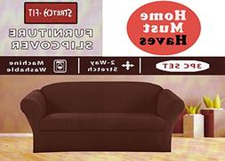Homemusthaves STRETCH FORM FIT - 3 Pc. Slipcovers Set, Couch