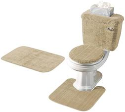 Madison Industries 5 Piece Rug and Toilet Tank Set, Sand