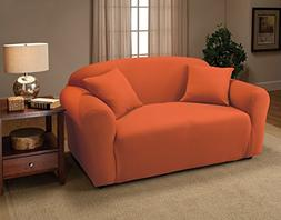 Madison Stretch Jersey Tangerine Loveseat Slipcover, Solid