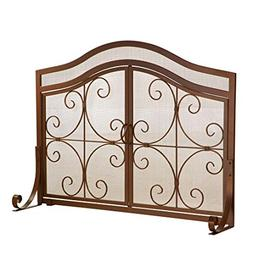 Large Crest Fireplace Screen with Doors, Solid Wrought Iron