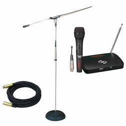 Pyle Mic And Stand Package - Pdwm100 Dual Function Wireless/