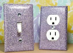SwankElectric SET OF SILVERY PURPLE Glitter Switch Plate Out