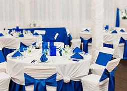 Spring Rose Royal Blue Wedding Satin Chair Sashes. These Are