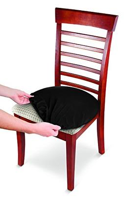 Stretch Chair Seat Covers Black - Set of 8