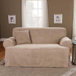 Sure Fit Soft Suede T-Cushion - Loveseat Slipcover  - Taupe