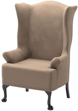 SureFit Stretch Wing Chair Slipcover – Taupe