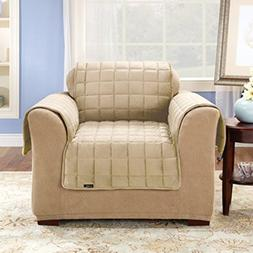 Surefit Ivory Deluxe Quilted Velvet Chair Pet Cover