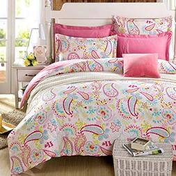TheFit Paisley Bedding Pink Twin Full Queen Girls Duvet Cove