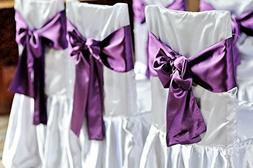 Spring Rose Purple Wedding Satin Chair Sashes. These Are a W