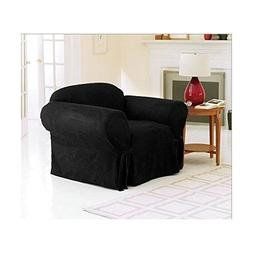 Armchair Slipcover BLACK Color Soft Micro Suede with Elastic