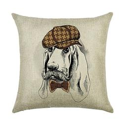 DECORLUTION Basset Hound with Hat and Bow Tie Pattern 18x18