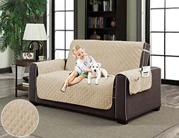 Natural Beige Pet Couch Luxury Micro-Suede Slipcover Dog Cat