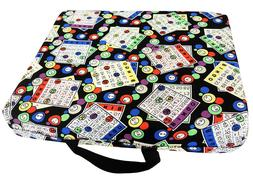 BINGO SEAT COVER; SINGLE CLOTH CUSHION WITH BINGO CARD PRINT