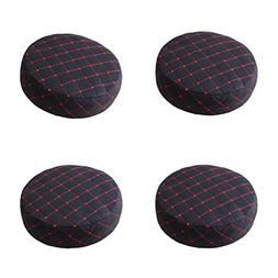 Fityle 4 Pieces Black Bar Stool PU Cover Round Chair Seat Co