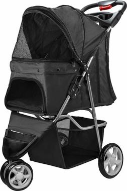 Black Jogger Folding Dog & Cat Stroller by Paws & Pals