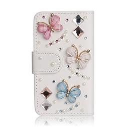 Bling Crystal Diamonds Bow PU leather flip slots wallet cove