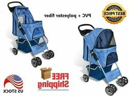 Blue Pet Travel Carrier Foldable Dog and Cat Stroller  14.6""