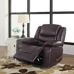 Bonded Leather Rocker and Swivel Recliner Living Room Chair