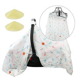 Hi Sprout Breathable Cotton Muslin Baby Car Seat Cover Canop