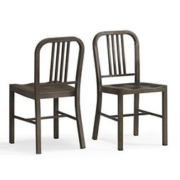 Set of 2 Bronze Metal Chairs with Back in Glossy Powder Coat