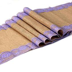 vLoveLife Burlap Table Runner With Lavender Lace Edged Hessi