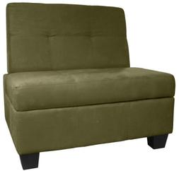 Butler Microfiber Upholstered Tufted Padded Hinged Storage O