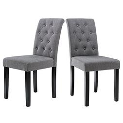 LSSBOUGHT Button-tufted Upholstered Fabric Dining Chairs wit
