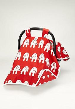 Canopy Car Seat Cover Red Elephants W/red Chevron Contrast