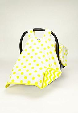 Canopy Yellow Polka Dots Car Seat Cover  #1 Car Seat Covers