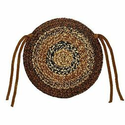 "CAPPUCCINO Braided Jute 15"" Chair Pad Brown, Black, Tan, Moc"