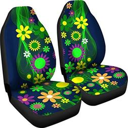 Muggalicious Car Seat Covers with Retro Vintage Hippie Flowe