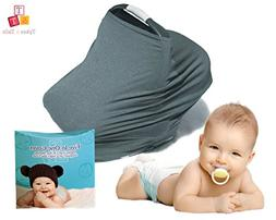 Premium 5in1 Charcoal Baby Breastfeeding Cover, Scarf & Cars