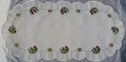"10.5""x22"" Christmas Linen, Cream Colored, Holly, Gold Stars,"